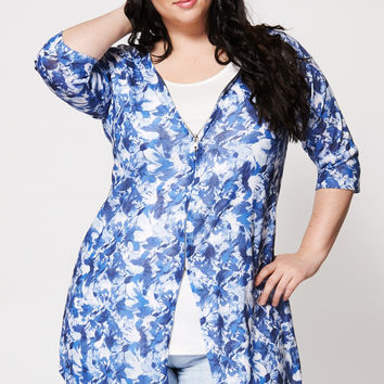 Floral Print Two-In-One Top And Cardigan