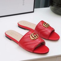 Gucci 2019 Red Women Fashion Flats Slipper Sandals Shoes