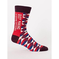 Busy Making A Fucking Difference Men's Socks in Red Argyle Print