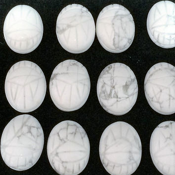 Lot Loose Howlite Scarab Cabochons 13x16mm 20 Pieces White Grey Gray Carved Stone Jewelry Making Supplies Repair  318