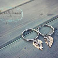 Hand Stamped Keychain Set - Thelma - Louise - Best Friend Keychain Set