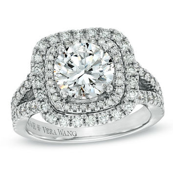 Vera Wang LOVE Collection 3-1/5 CT. T.W. Diamond Split Shank Engagement Ring in 14K White Gold - View All Rings - Zales