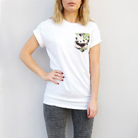 White Panda Pocket T-shirt by Patch Apparel