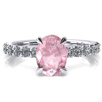 Alessi Oval Pink Sapphire 4 Claw Prong 3/4 Micro Pave Engagement Ring