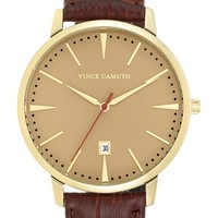 Men's Vince Camuto Round Leather Strap Watch, 46mm - Chocolate Brown/ Gold