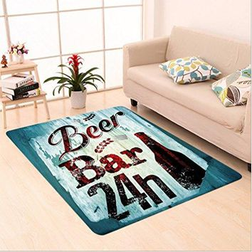 Nalahome Custom carpet Grunge Beer Bar 24h Figure Old Pub Sign Emblem Restaurant Graphic Design Maroon Dark Brown Teal area rugs for Living Dining Room Bedroom Hallway Office Carpet (5' X 8')