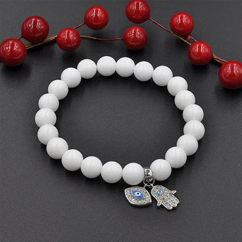 Natural Gemstone White Agate Bead  Bracelet with 925 Sterling Silver Evil Eye and Hamsa Hand Charm