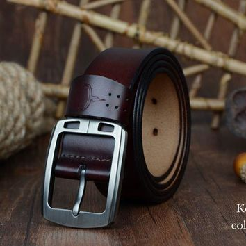 cowhide genuine leather belts Strap male pin buckle vintage jeans belt 100-150 cm long waist 30-52 XF001