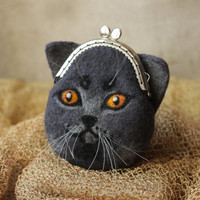 British blue cat, hand felted purse for cosmetics, Iphone, or money - MADE TO ORDER