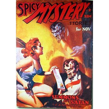 Pulp Fiction Art Spicy Mystery Summon Satan 11 inch x 17 inch poster