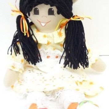 toy rag doll black pigtails yellow dress ethnic latina handmade ragdoll, rag doll handmade, hand made rag dolls, cloth rag doll, NF205