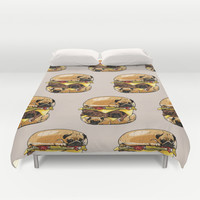Pugs Burger Duvet Cover by Huebucket
