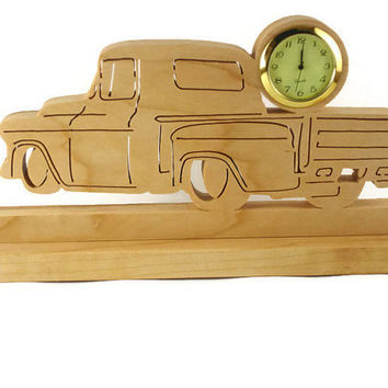 1955 Chevy Truck Desk Or Shelf Clock Handmade From Cherry Wood By KevsKrafts