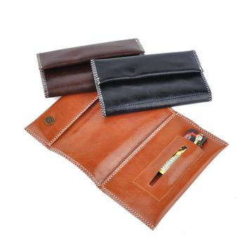Hot Tobacco Bag Storage For Smoking Pipe PU Leather Tobacco Pouch Portable Zipper Buckle Cigarette Bags 61034
