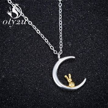 Oly2u New Fashion  Gold Moon Lovely Rabbit Necklaces   Statement Woman Cute Animal  jewelry Pendant For Women Ladies' Gifts