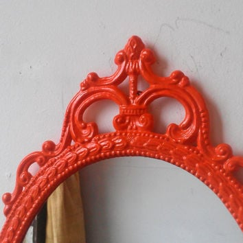Vintage Framed Mirror in Hand Painted Bright Orange, 17 by 12 Inch Metal Oval Frame