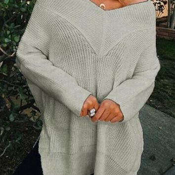 Grey Off Shoulder Backless Side Slit Long Sleeve Casual Pullover Sweater