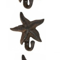 Starfish Wall Hangers Cast Iron Brown - Set of 3 for Coats, Aprons, Hats, Towels, Pot Holders, More