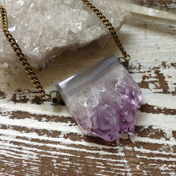 PURPLE HAZE / Raw Amethyst Agate Pyrite Druzy Quartz Crystal Geode Cluster Slice Stalactite Pendant Necklace - February Birthstone, Summer