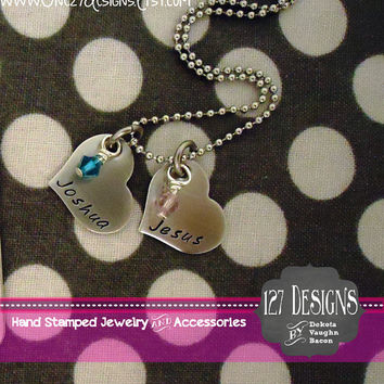 Handstamped heart Custom Necklace with Childrens names and birthstones all occasions hand stamped