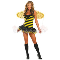 High Quality Silk Yellow Busy Bees Strapless Cartoon Halloween Costumes For Adults
