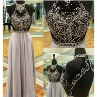 Sparkly prom dresses long Halter Floor Length Crystal Beaded A-Line Chiffon Off Shoulder Prom Gowns ivanka trump dress 2017 New