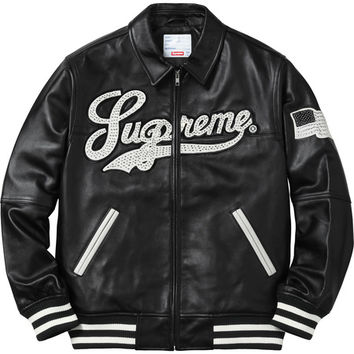 Supreme: Uptown Studded Leather Varsity Jacket - Black
