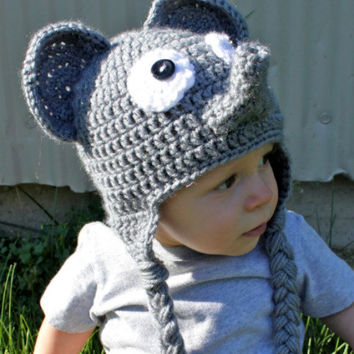 Crochet Elephant Hat for Newborn, Baby, Toddler, Child, Teen, Adult