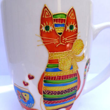 Cat and fish Mug. Hand painted mug.