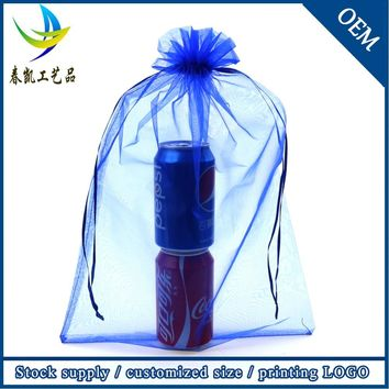 Organza Sachet Bags 50pcs/lot 35X50CM Blue Organza Pouches Saco De Tule Drawstring Gifts Bag Wedding Favors Packaging