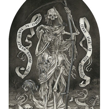 Die Boten Des Todes. Illustration of grim reaper based on Brothers Grimm tale number 177, Death's Messengers.