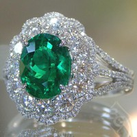 Simon G. Oval Cut Emerald Halo Diamond Ring