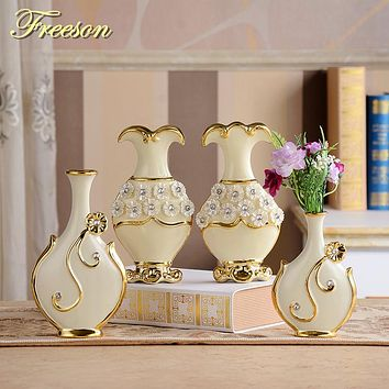 Europe Handpainted Gold Plated Porcelain Vase Modern Advanced Ceramic Flower Vase Room Study Hallway Home Wedding Decoration