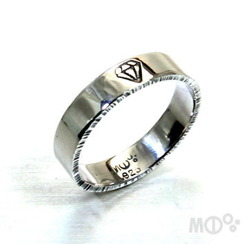 Thick ring band, Diamond symbol, hammered sides in sterling silver