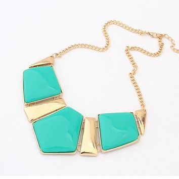 Hot Sale Fashion Jewelry Female Big Imitation Gem Stone Necklace For Women Statement Necklaces Collar Party Necklace 443