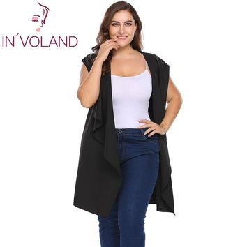 IN'VOLAND Plus Size XL-4XL Women's Hooded Vest Sleeveless Coat Spring Autumn Draped Wrap Belted Long Suit Cardigan Tops Big Size