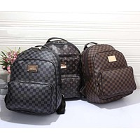 LV Women Casual School Bag Cowhide Leather Backpack