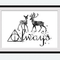Always Harry Potter art poster Harry Potter black and white print Harry Potter watercolor decor Home decoration Kids room wall art W599