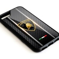 Lamborghini Automotive Black Car Logo iPhone 6 6s 7 7+ 8 + Hard Plastic Case