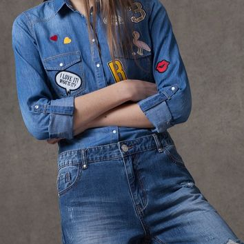 Denim shirt with patch detail - SHIRTS - WOMAN | Stradivarius Republic of Ireland