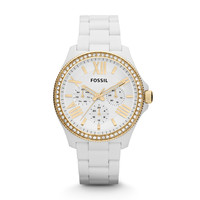 Cecile Multifunction Resin Watch - White with Gold
