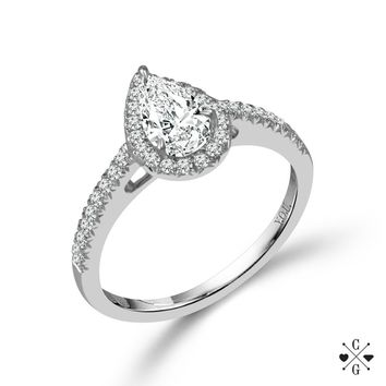 14K White Gold .75cttw Pear Shaped Halo Diamond Engagement Ring