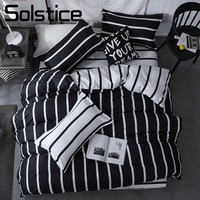 Solstice Home Textile Black White Stripe Duvet Cover Pillowcase Sheet Simple Nordic Bedding Set Boy Teenage Adult Girl Bed Linen