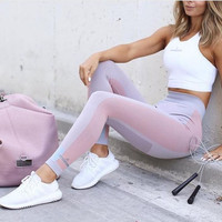 Fashion Casual Multicolor High Waist Sport Gym Running Pants Trousers Sweatpants