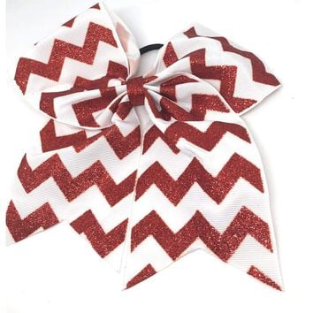 "6.5"" Red Glitter Chevron Gross Grain Christmas Cheer Bow"