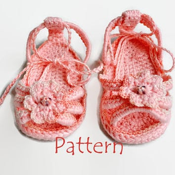 PATTERN Crochet baby sandals Crochet baby flip flops Girl sandals Crochet baby booties Baby girl shoes Girls flip flops with crochet flowers