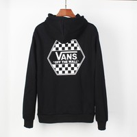 "VANS autumn and winter new ""OFF THE WALL"" series lattice control plus velvet hoodie Black"