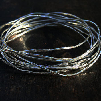Silver bangle bracelets. Stacking bangles. Bangle set of 10. Hammered bangle set. Thin wavy bangles Sterling silver stacking bangles Jewelry