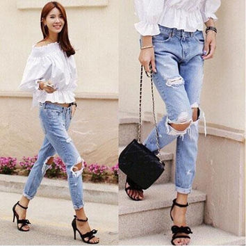 New Fashion Jeans Women Loose Low Waist Big Hole Ripped Pencil Pants = 1901212868