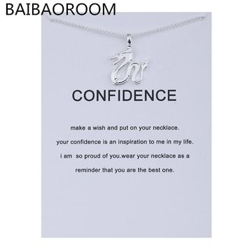 Fashion Jewelry Animal Ornaments Zodiac Confidence Dragon Logo Alloy Clavicle Pendants Short Necklace Gift